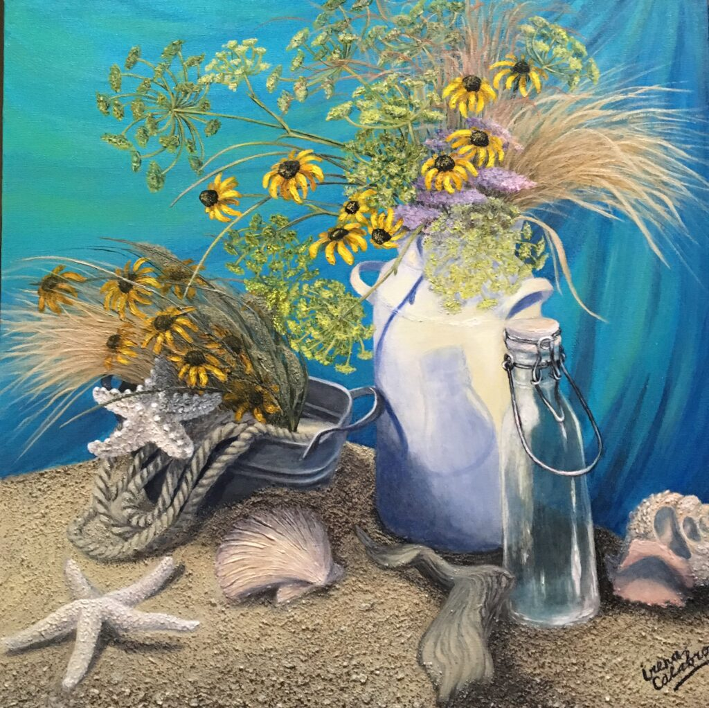 """Still Life with Milk Bottle and starfish. Acrylic on Canvas 24x24"""""""