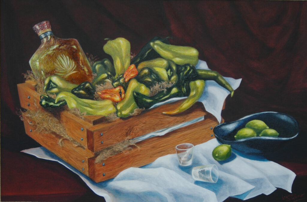 """Still Life with Green Peppers. Acrylic on Canvas. 36x24"""""""