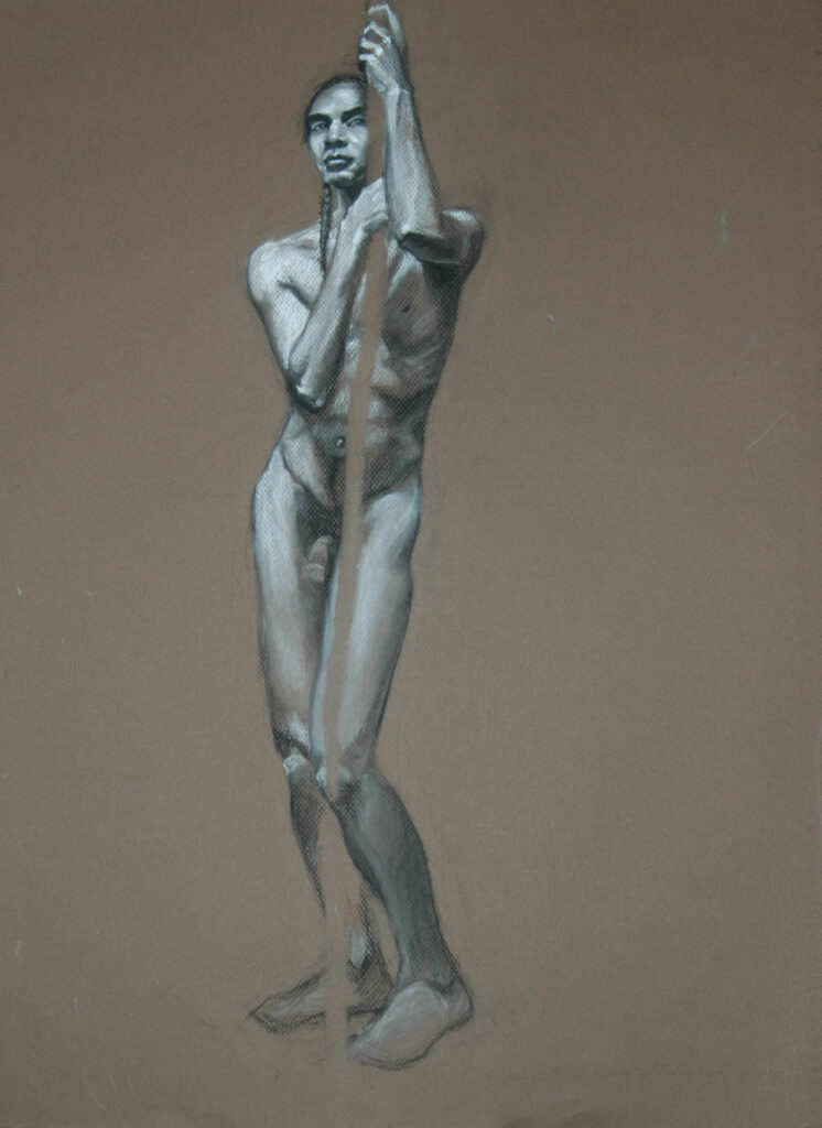 """Young Man 3. Charcoal/pastel on Paper. 24x18"""""""