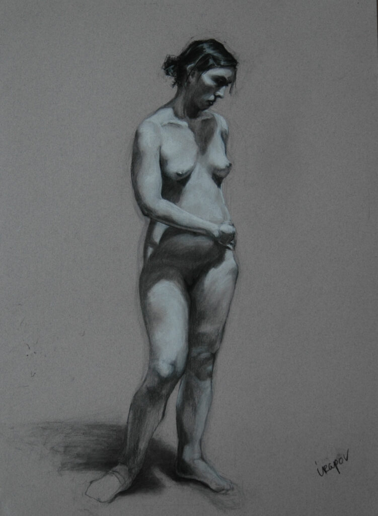 """Study of a Young Woman. Charcoal/Pastel on Paper. 24x18"""""""