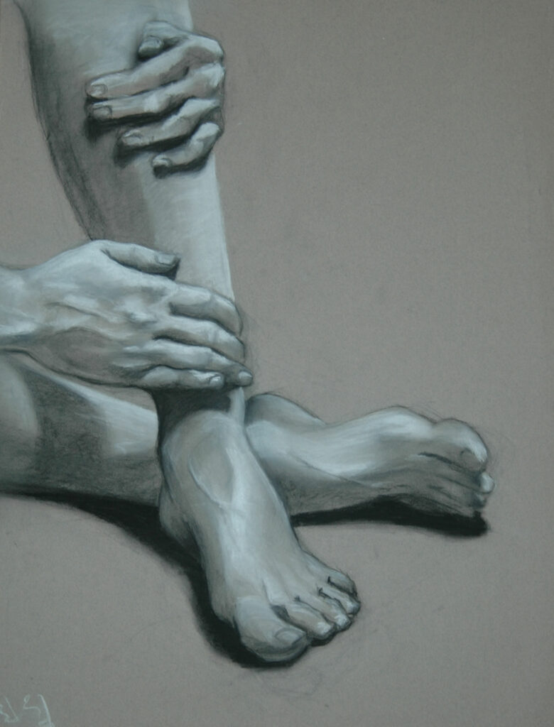 """Study. Hands. Charcoal/Pastel on Paper.20x18"""""""