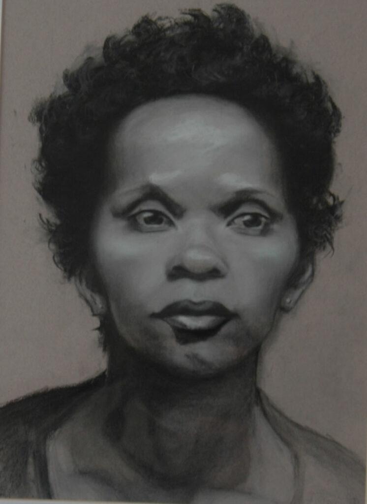 "Portrait of Woman 1. Charcoal/Pastel on Paper. 20x14"""
