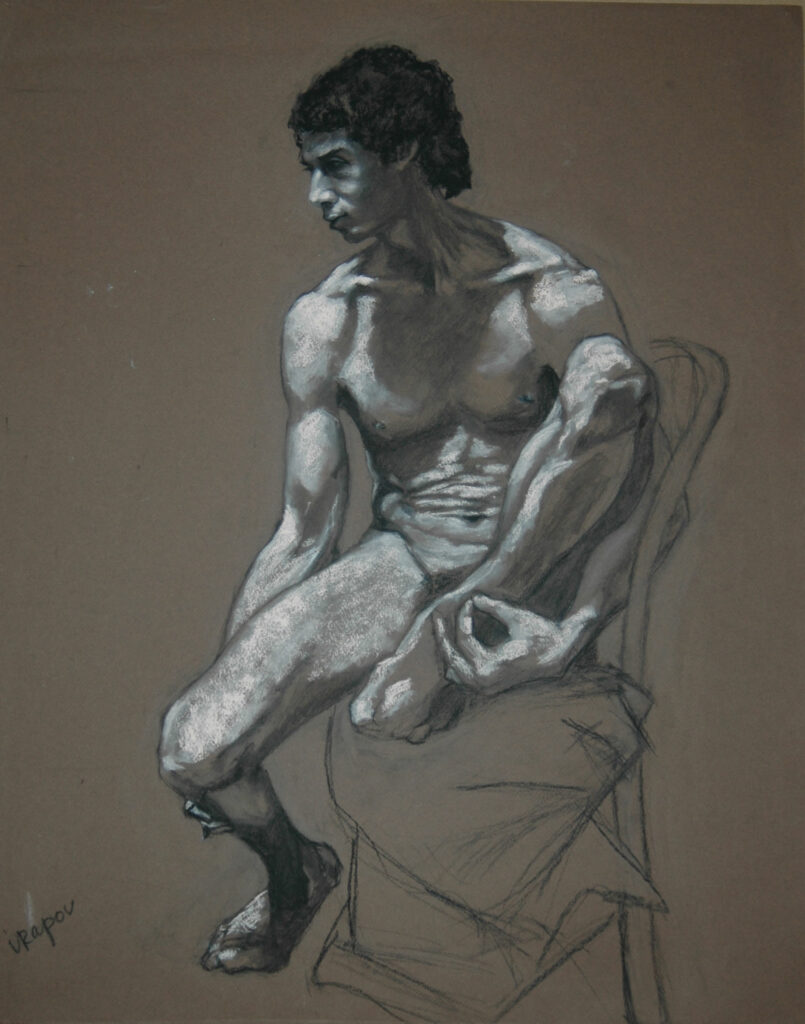 """Young Man 1. Charcoal/Pastel on Papepr.24x18"""""""