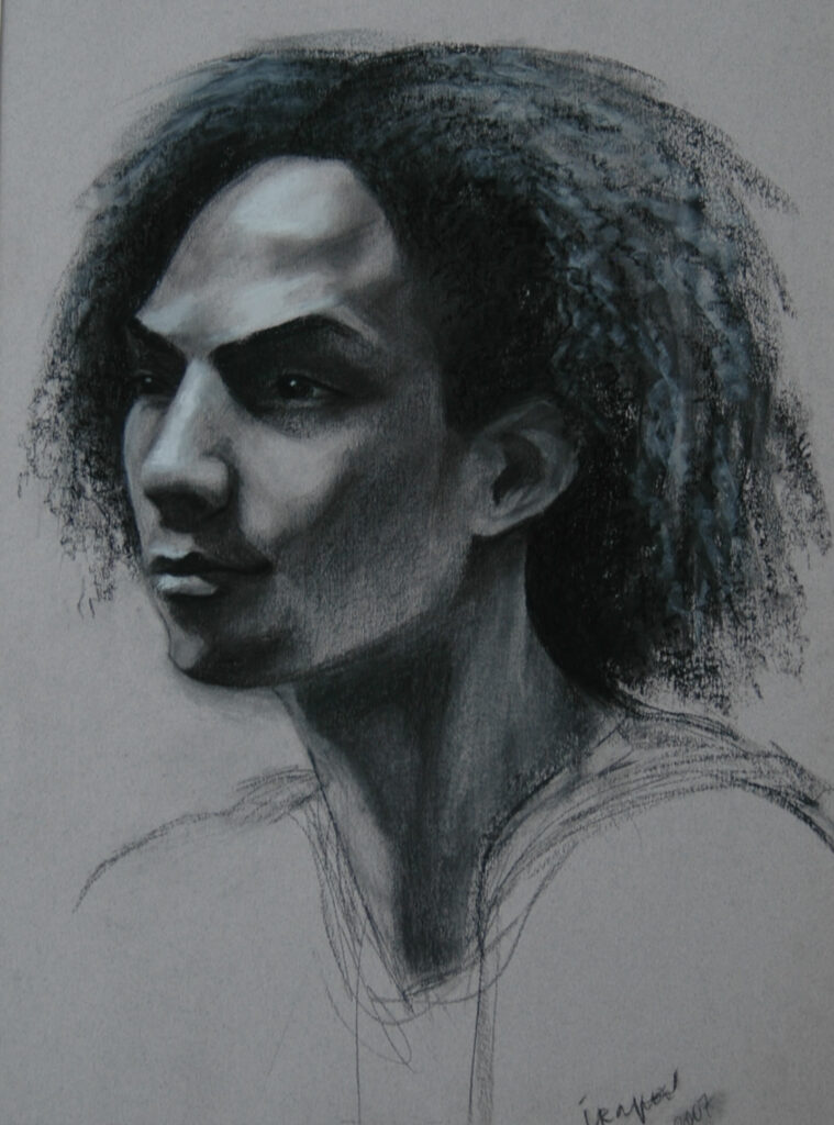 """Portrait on a Young Man 2. Charcoal/Pastel on Paper. 24x18"""""""