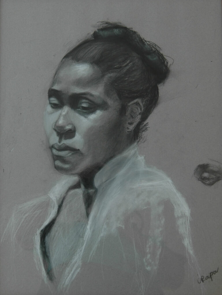 """Portrait of a Woman 2. Charcoal/Pastel on Paper. 24X18"""""""