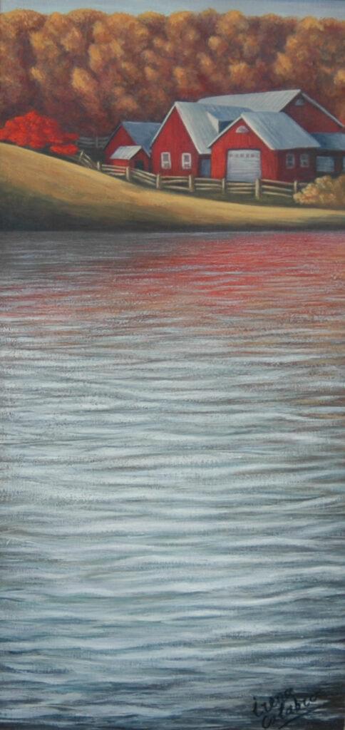 "Red Barn 2. Acrylic on Canvas. 24x12"""