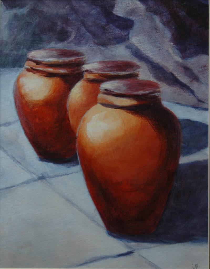 """Clay Pots. Acrylic on Canvas. 14x11"""""""
